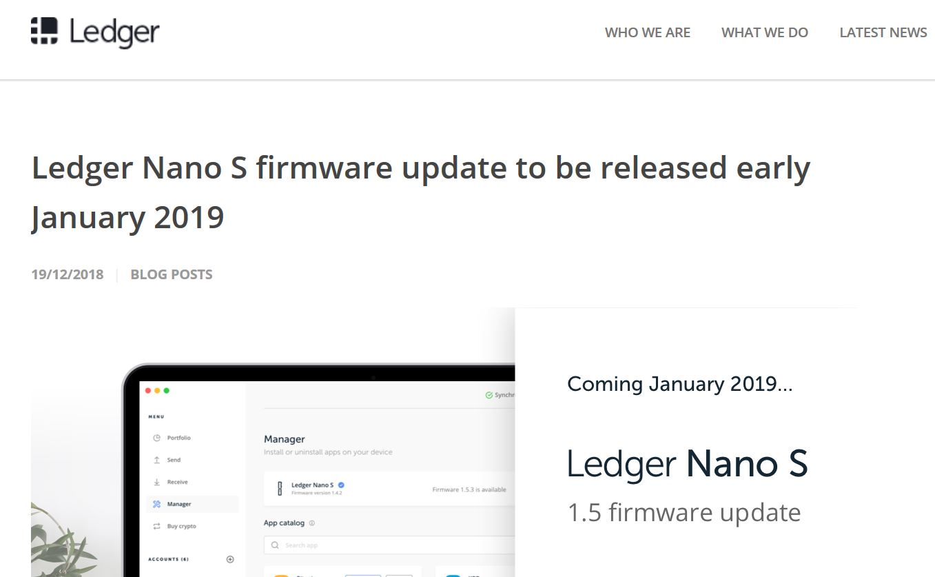 ledger nano s update