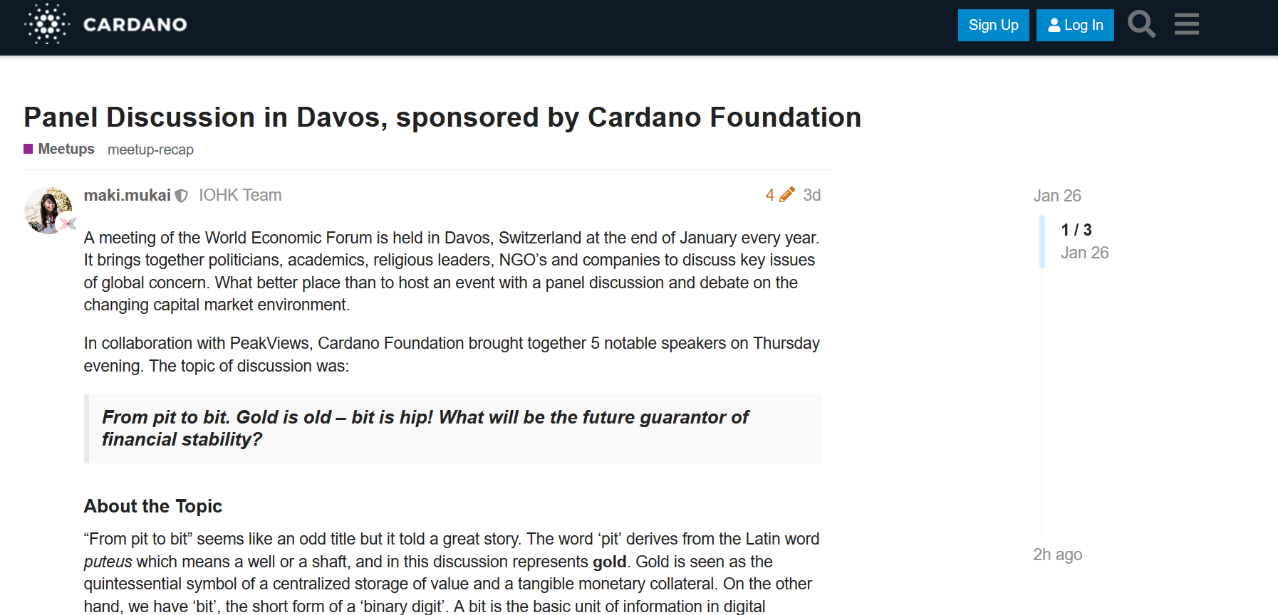 Panel Discussion in Davos, sponsored by Cardano Foundation-forum