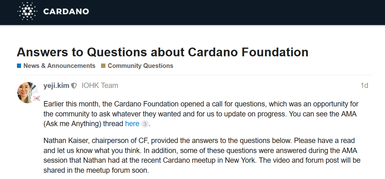 Answers to Questions about Cardano Foundation