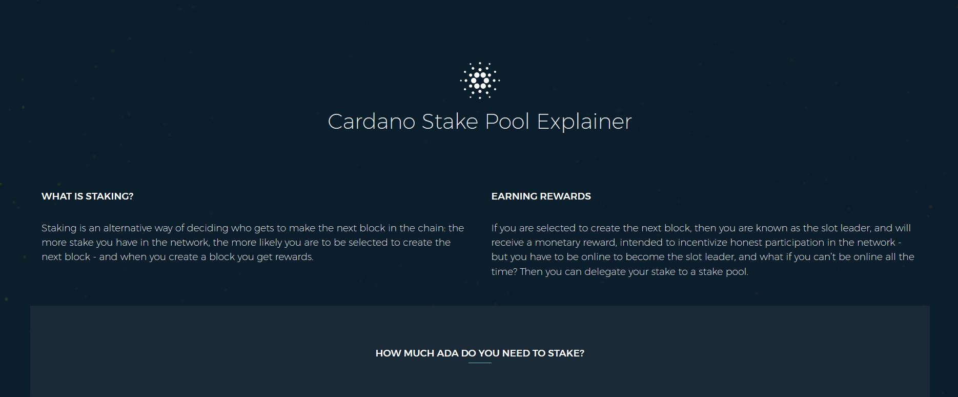 Cardano Stake Pool Explainer