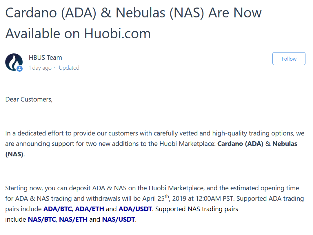 HBUS Listed ADA Cardano