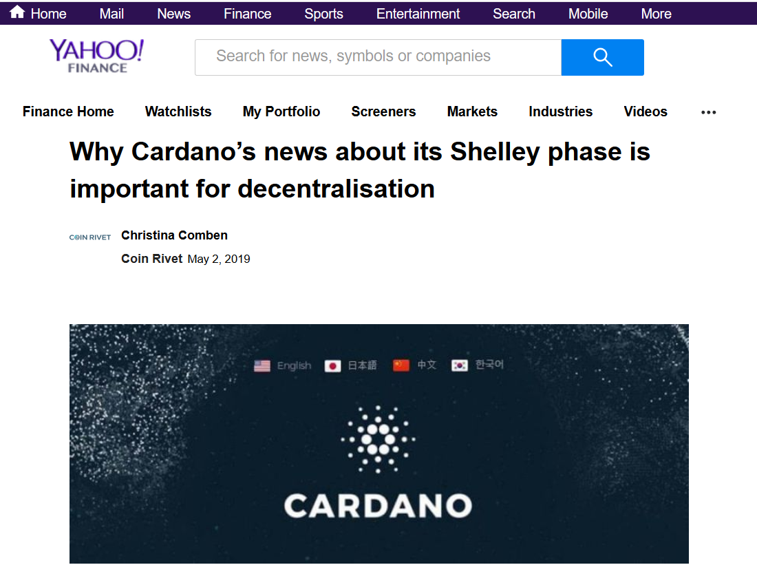 Why Cardano's news about its Shelley phase is important for decentralisation