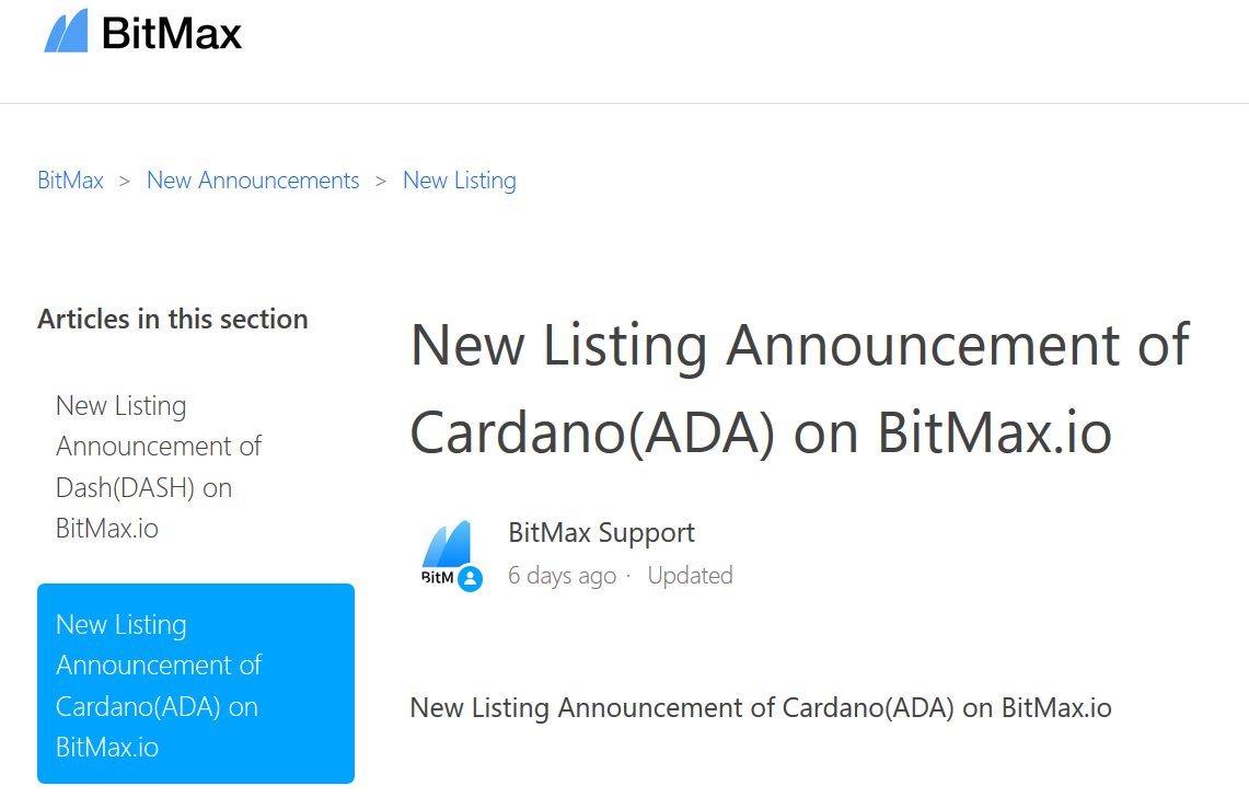 New Listing Announcement of Cardano(ADA) on BitMax