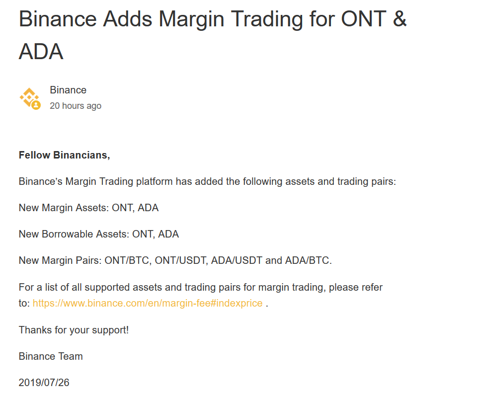 Binance Adds Margin Trading for ONT & ADA